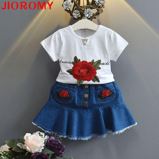 2017 New Suit Girls Roses Short Sleeve T-shirt + Denim Skirt 2 Pieces Set Letters Flower Leisure Princess Children's Clothing k1