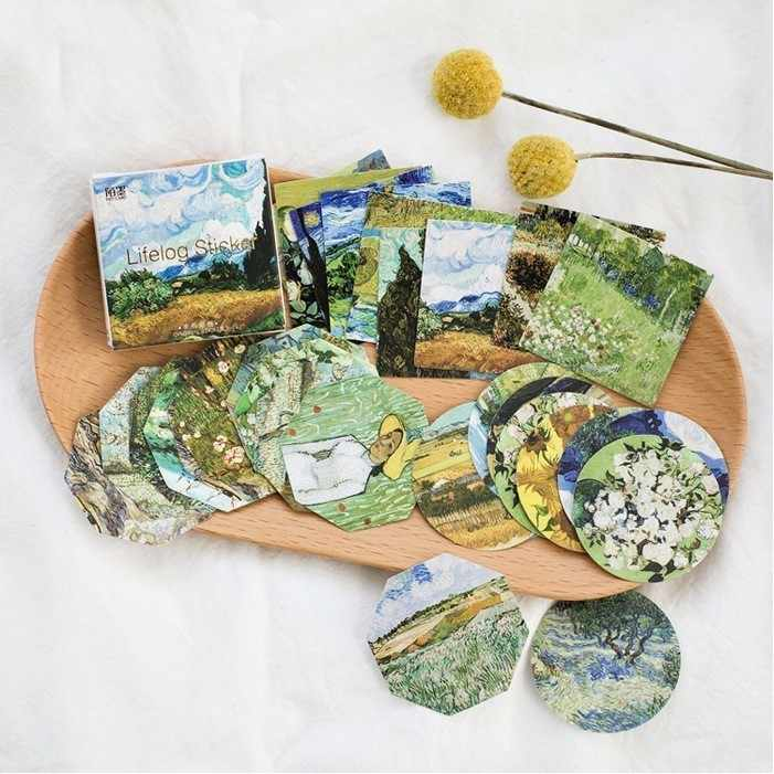 45 PCS/lot nouveau créatif rencontrer Van Gogh Mini papier autocollant décoration album de bricolage journal Scrapbooking étiquette autocollant Kawaii papeterie