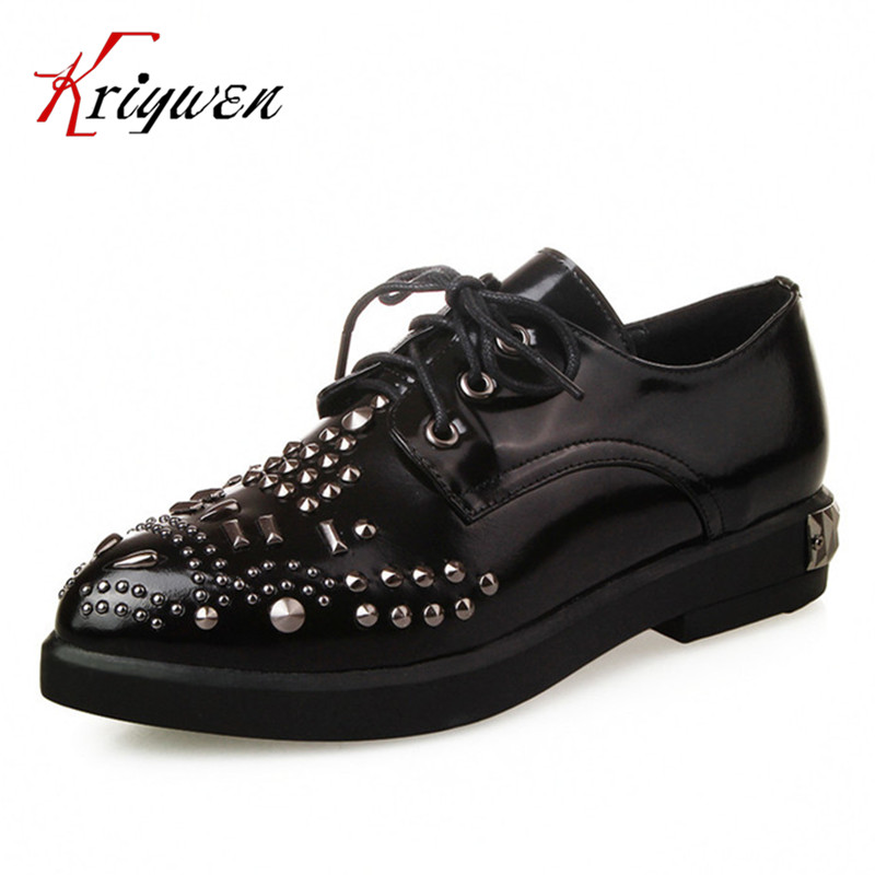 ФОТО 2017 Spring autumn cow leather shoes punk style oxfords for women natural leather rivets lace up flats causal black lady shoes