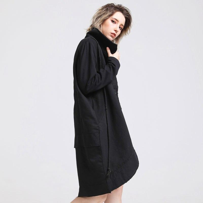 Manteau Veste A0az40 Plots Femme Patchwork Irrégulière Casual Vêtements 16008 Long Spliced Automne Femelle A0a Pour Porter Coton FxfYwqfSE