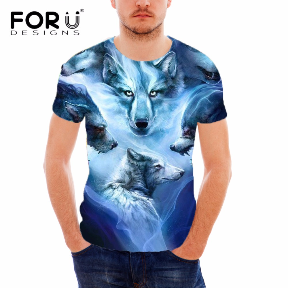 FORUDESIGNS Frais de Loup Impression À Manches Courtes Hommes T-shirts Respirant D'été 3D Motif Homme Tops T-shirt Mode Masculine T-shirts
