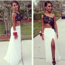 Black One-shoulder Two Pieces Prom Dresses Evening Gown 2015 New arrival sexy Slit Side Chiffon Sleeveless Dress Sexy