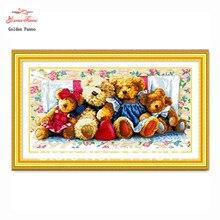 Patterns крестиком-колющими, медведей вышивания, вышивания крестом, рукоделие, dmc изображение семья вышивка
