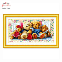 Stitch Needlework,DIY DMC Cross stitch bear cartoon,Sets For Embroidery kits, family of bears Patterns Counted Cross-Stitching