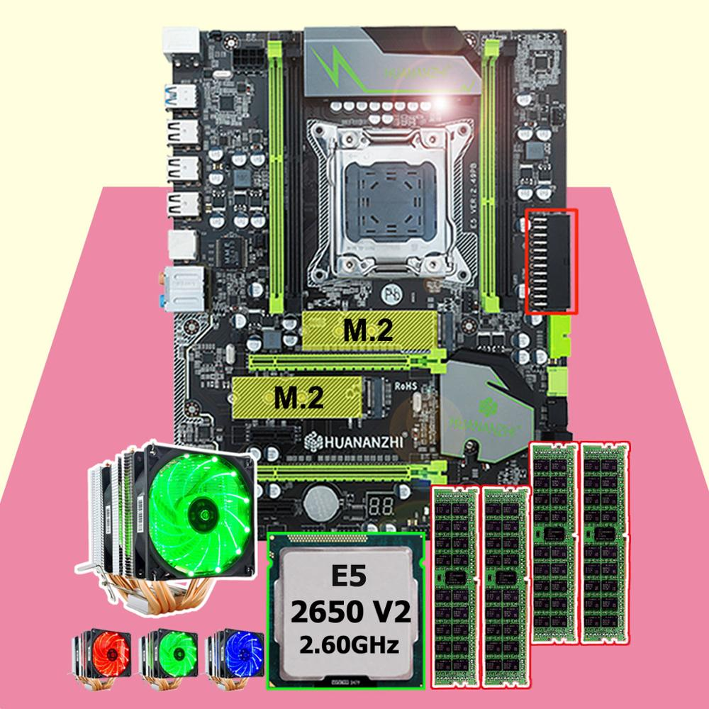 Discount motherboard bundle HUANANZHI X79 Pro motherboard with dual M.2 slot CPU <font><b>Intel</b></font> <font><b>Xeon</b></font> <font><b>E5</b></font> <font><b>2650</b></font> <font><b>V2</b></font> RAM 4*16G 6 tubes cooler image