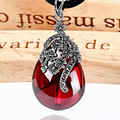 925 Sterling Silver Pendant Thai silver inlaid Red Garnet Pendant Ms. dendrite love retro vintage red ruby Jewelry