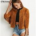 Chicnova моды кисточкой куртка браун короткий стиль 3/4 рукава женщины пальто и куртки FS0043