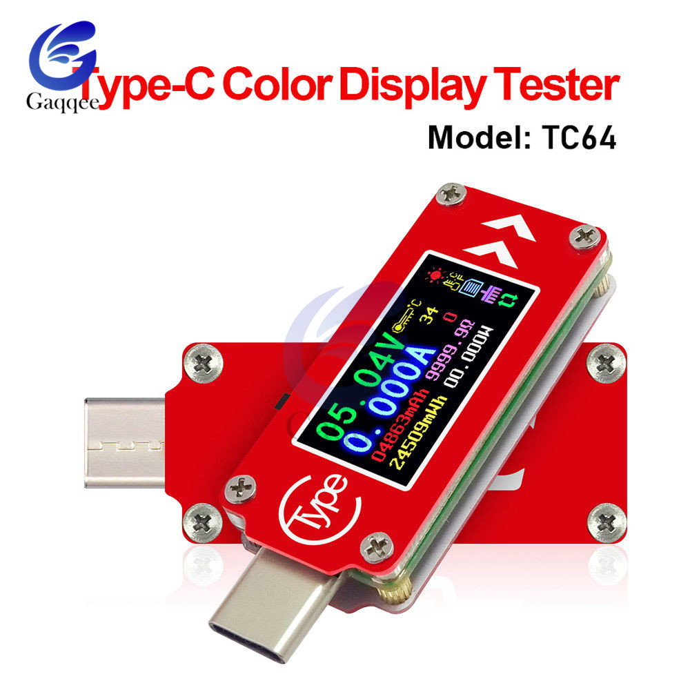 TC64 QC2.0 QC3.0 Type-C Color LCD USB Voltmeter Ammeter Voltage Current Meter Multimeter Battery Charger Power Bank USB Tester