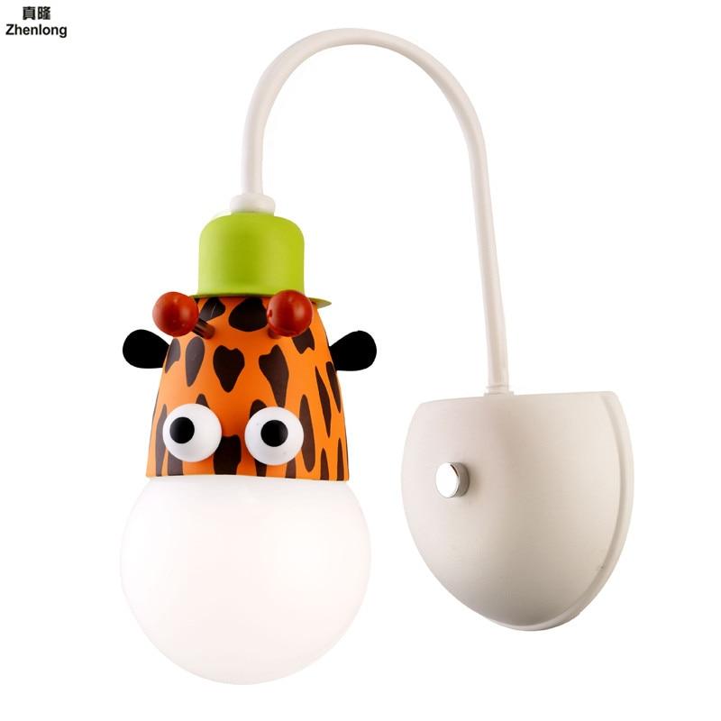 Mur Led lumière créative dessin animé garçon chambre économie d'énergie applique avec interrupteur lampe de chevet enfant bébé cadeau singe E27 Led ampoule