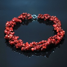 New Wholesale 3 Type Women Fashion Necklace Natural Gravel Shape Stone Moonstone Aventurine Red Coral Beads Necklace 48 cm