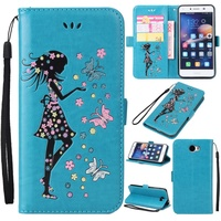 For Huawei Y5II Case Glittery Powder Imprint Girl with Butterfly Flower Leather Wallet Case Coque for Huawei Honor 5 Cover Funda