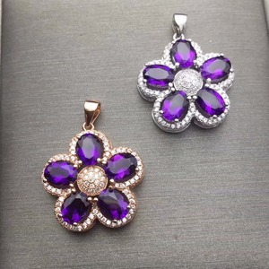 Image 4 - Natural Amethyst Necklace wholesale flower shape 925 silver making two color selection mail