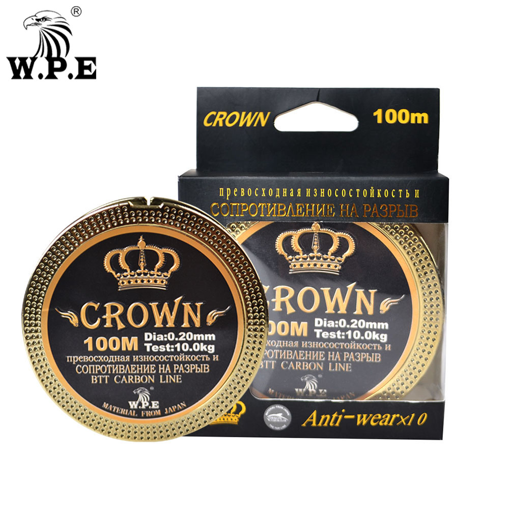 W.P.E Brand CROWN 100m 0.20mm-0.60mm Fluorocarbon coating 10KG-41KG fishing Line Carbon Fiber Carp fishing tackle