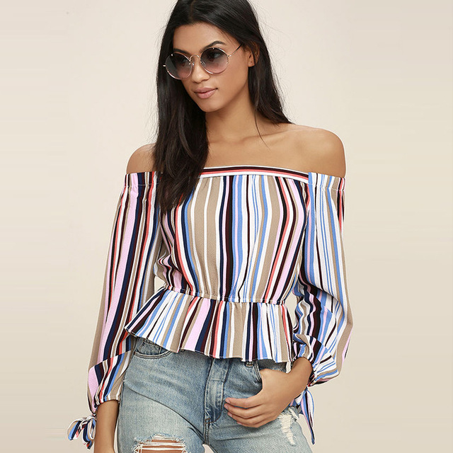 bc811e88df7b40 Women Fashion Blouses Filled With Glee Pink Striped Off-the-Shoulder Tops  Slash Neck Ruffles Decoration Blouse