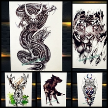 25 Styles Waterproof Water Trasnfer Colorful Arm Tattoo Dragon Gunshot Owl Tatoo Body Art Decals Fake Temporary Tattoo Stickers
