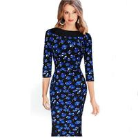 Womens Elegant Vintage Floral Crochet Charming Pinup Casual Work Office Party Evening Sheath Bodycon Pencil Dress