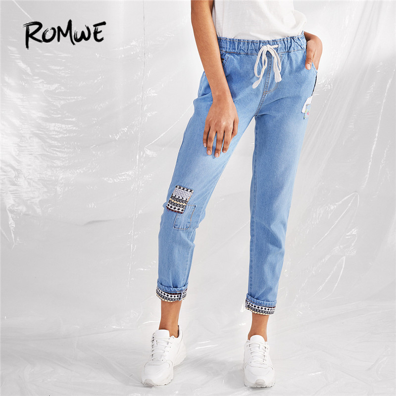 ROMWE Tribal Pattern Casual Loose Jeans Women Light Blue Drawstring Denim Pants 2018 Autumn Fashion New Mid Waist Vintage Jeans