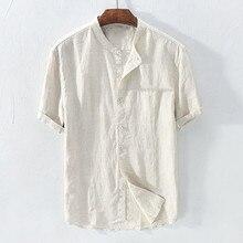 Повседневная мужская рубашка Camisa, рубашка с коротким рукавом, Мужская мешковатая хлопковая льняная однотонная Свободная блузка, топы, уличная одежда Camisa masculina