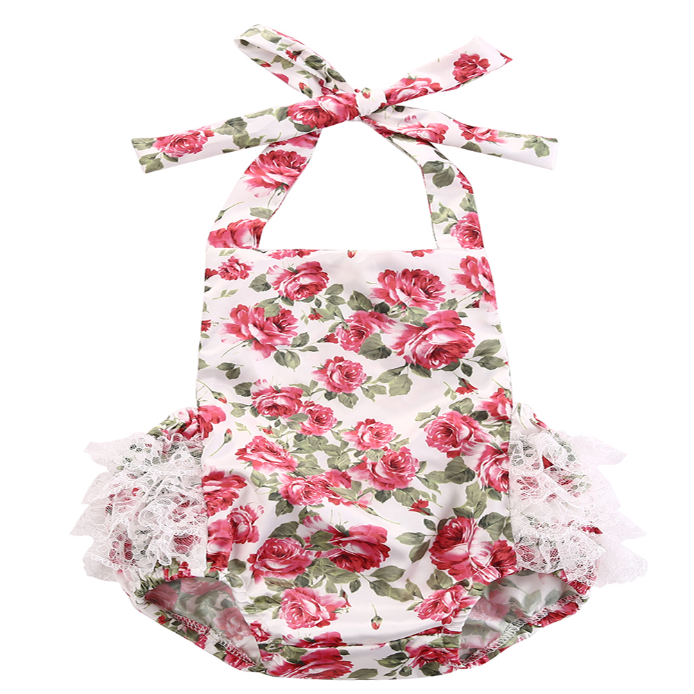 Hi Hi Baby Store 0-24M Newborn Baby Kids Girls Body Rose Flower Lace Jumpsuit Sleeveless Outfits Set