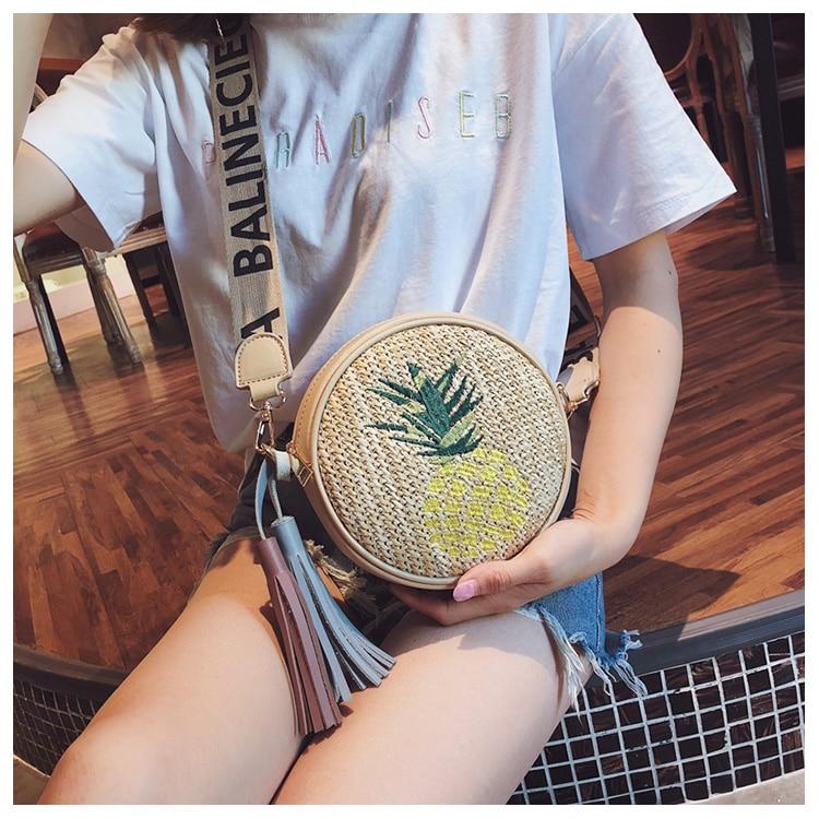 Bag Nappa Di Sacchetto Cintura Lusso Estate colore Ananas Larga Della Ricamato Spiaggia Delle Cuoio Donne Paglia Crossbody Rotondo Giallo Lettera Borse Verde f6vAgw