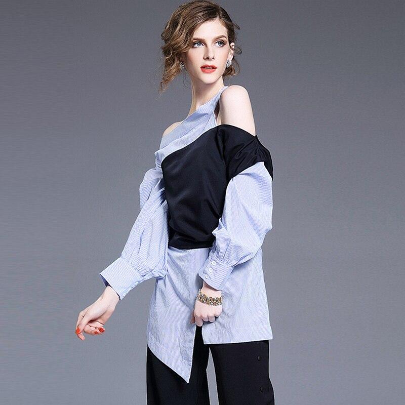 Multi Off Nouveauté Mode Longue Conception Asymétrique Femmes Style Lambrissée Manches Nouveau Patchwork Blouse Casual 2017 Chemise De Épaule mv8wnN0