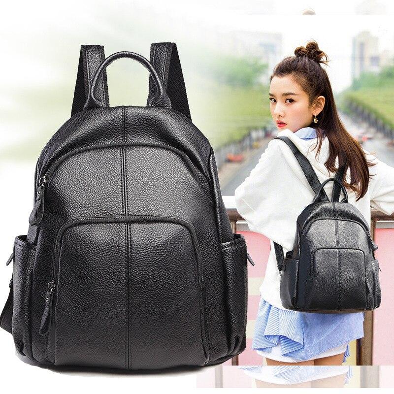 2019 nouveau femmes en cuir véritable sacs à dos pour femmes de luxe Designer sac à dos sac à main femme épaule sac d'école sac à dos