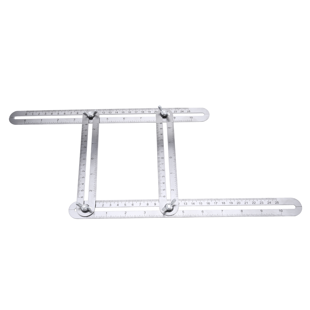 Stainless Steel Adjustable Four-Sided Folding Measuring Tool Multi-Angle Template Scale Ruler Angle-izer Metric Scale multi function angle izer ultimate tile four sided ruler flooring working template measuring instrument tool plastic caliper