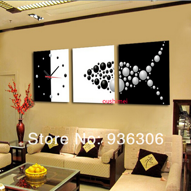 Hand Painted Abstract Clock Paintings For Living Room Wall Decor ...