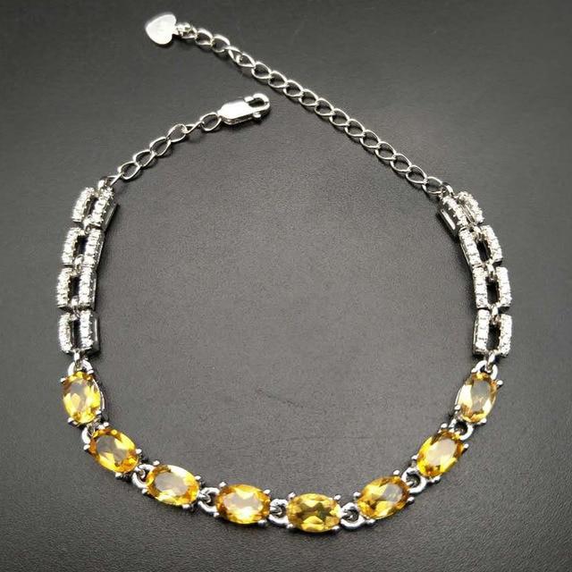 8af71e65bf036d TBJ,100% natural oval cut citrine bracelet in 925 sterling silver jewelry  with gift box, girls' citrine gemstone bracelet ,