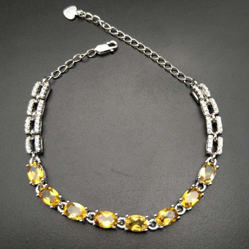 TBJ, 100% naturel ovale coupe citrine bracelet en argent sterling 925 bijoux avec boîte-cadeau, filles citrine bracelet de pierres précieuses,
