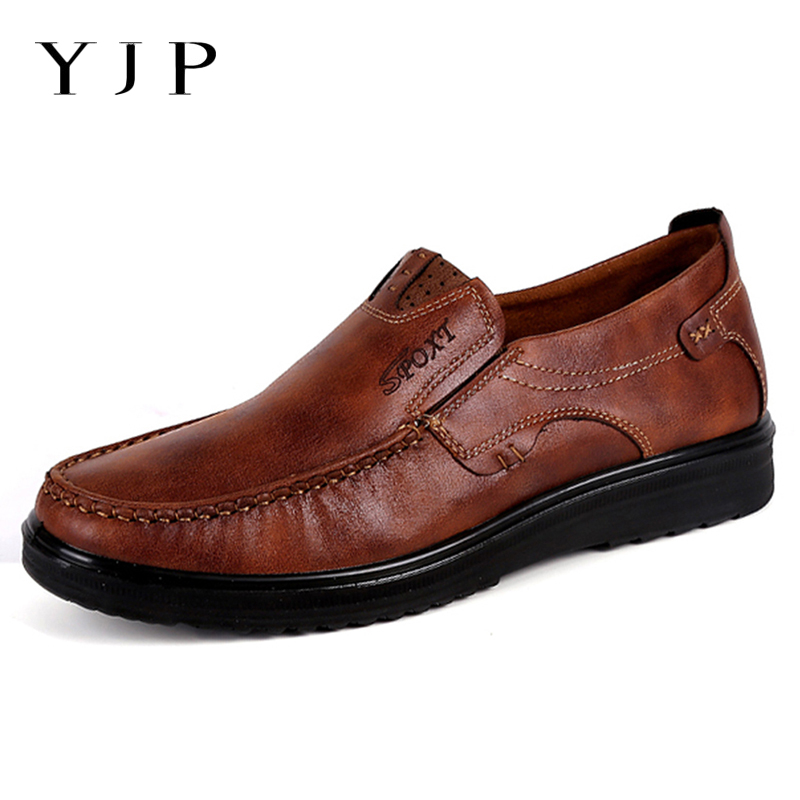 YJP PU Leather Shoes Men Leather Flats Breathable Casual Loafers Flat Heel Slip-on Walking Sneakers Soft Plus Size Driving Shoes nis breathable mesh flat men shoes casual summer slip on shoes men patchwork stitching loafers sewing soft sole pu leather flats