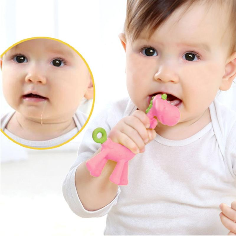 Cute Giraffe Baby Teether Eco-Friendly Infants Toothbrush Training Tool Charm Silicone Chewable Newborn Teething Toy Dental Care