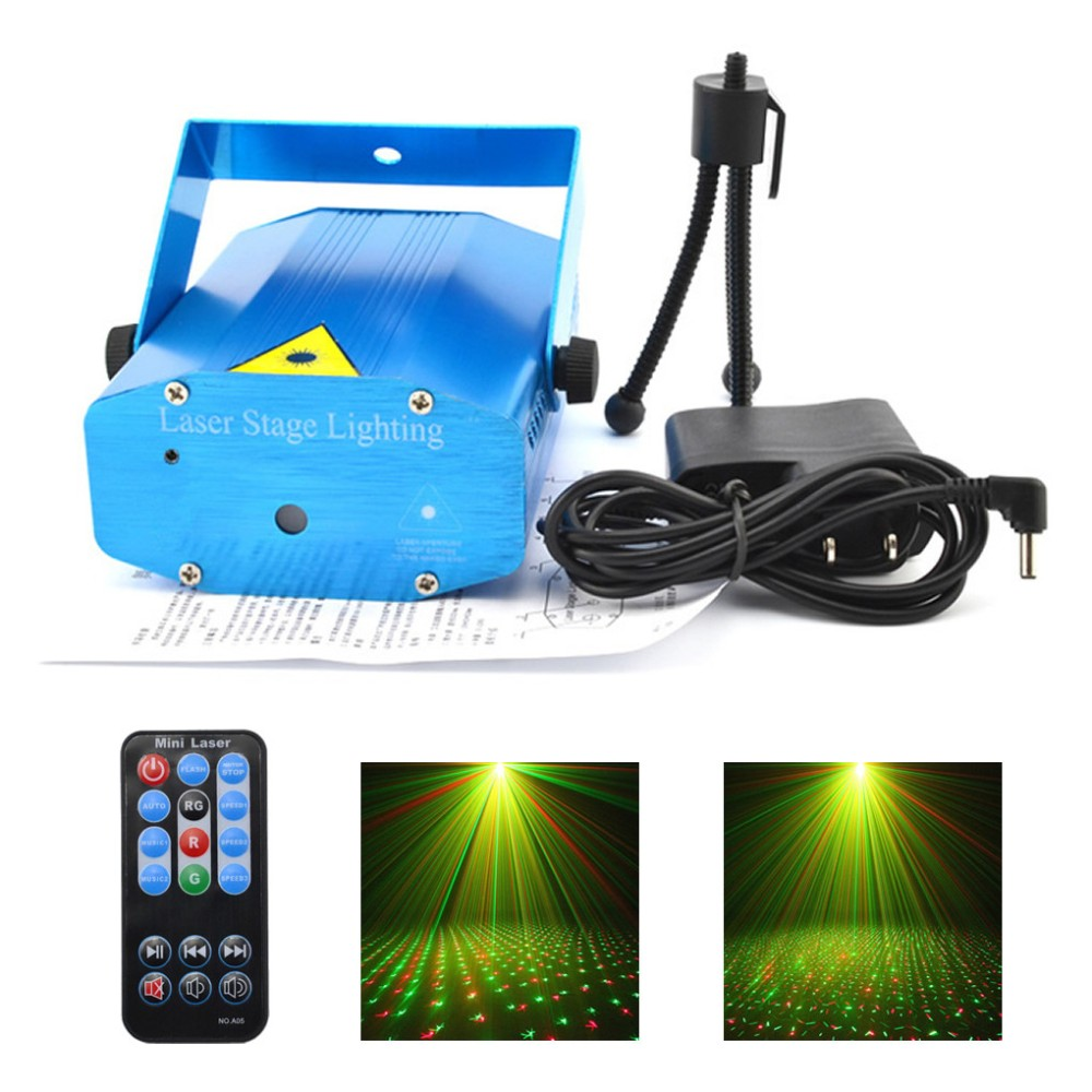 New Mini Portable IR Remote Red Green Meteor Laser Projector Lights DJ Home KTV Party Show Stage Lighting Blue Shell OSI100U