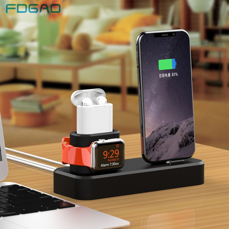 Fdgao 3 in 1 Charging Holder for Apple Watch 5 4 3 2 1 <font><b>Dock</b></font> <font><b>Station</b></font> Charger Stand For <font><b>iPhone</b></font> 11 XR XS Max X 8 7 6s 6 For Airpods image