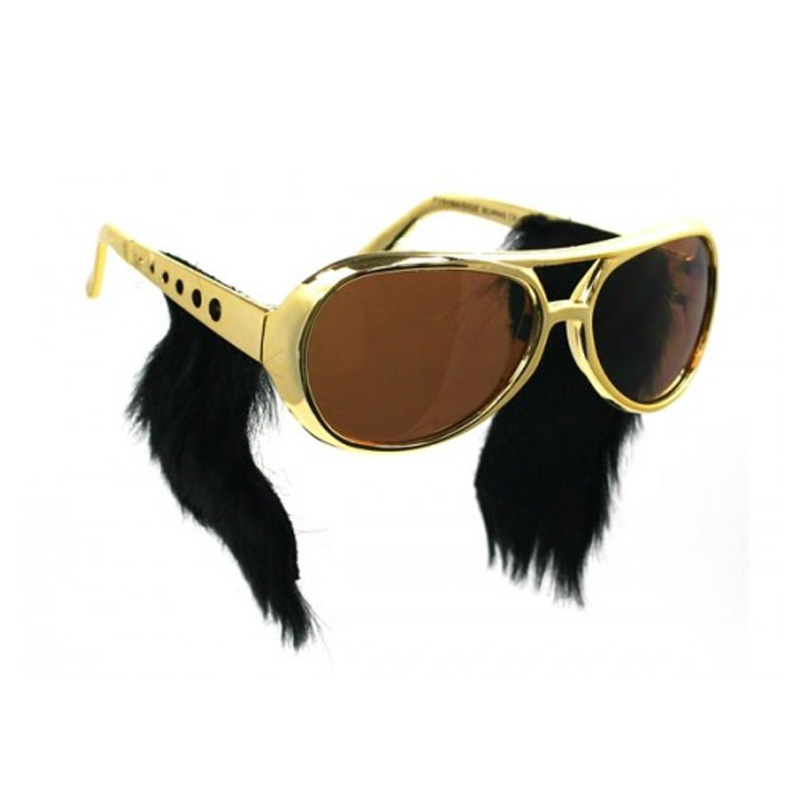Free Shipping Hot Sell Gold Frame Classic Elvis Glasses with Sideburns Elvis Costume Sunglasse Elvis Sunglasses