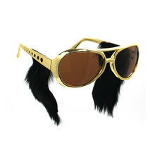 Free Shipping Hot Sell Gold Frame Classic Elvis Glasses with Sideburns Elvis Costume Sunglasse Elvis