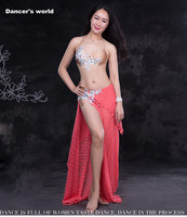 Lady Luxury Belly Dance Clothes Hand Made Bra Lace Long Skirt 2pcs Belly Dance Set For