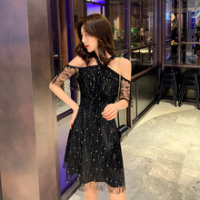 EAD Spaghetti Strap Black Lace Summer Dress Off Shoulder Women Sexy Sundress Bodycon Boho Style Shiny Party Dresses Vestido