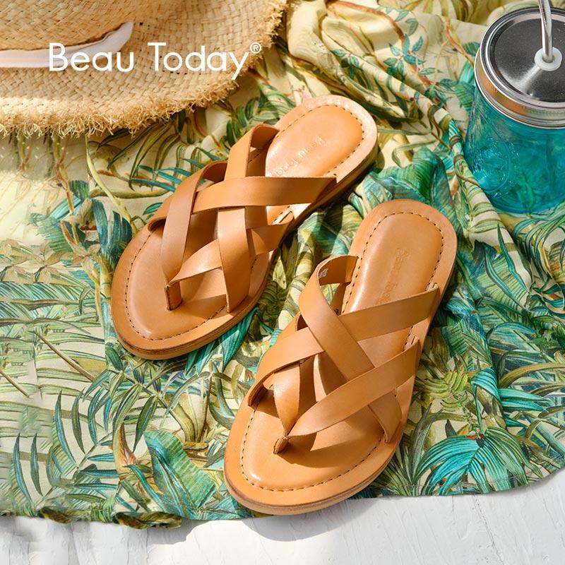BeauToday Summer Slippers Gladiator Style Soft Calfskin Genuine Leather Women Flip FlopsTop Quality Handmade 36049
