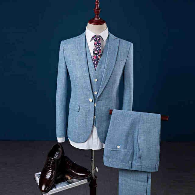 Online Shop Reimmu Linen Suits Men Suit Set New Fashion Brand ...