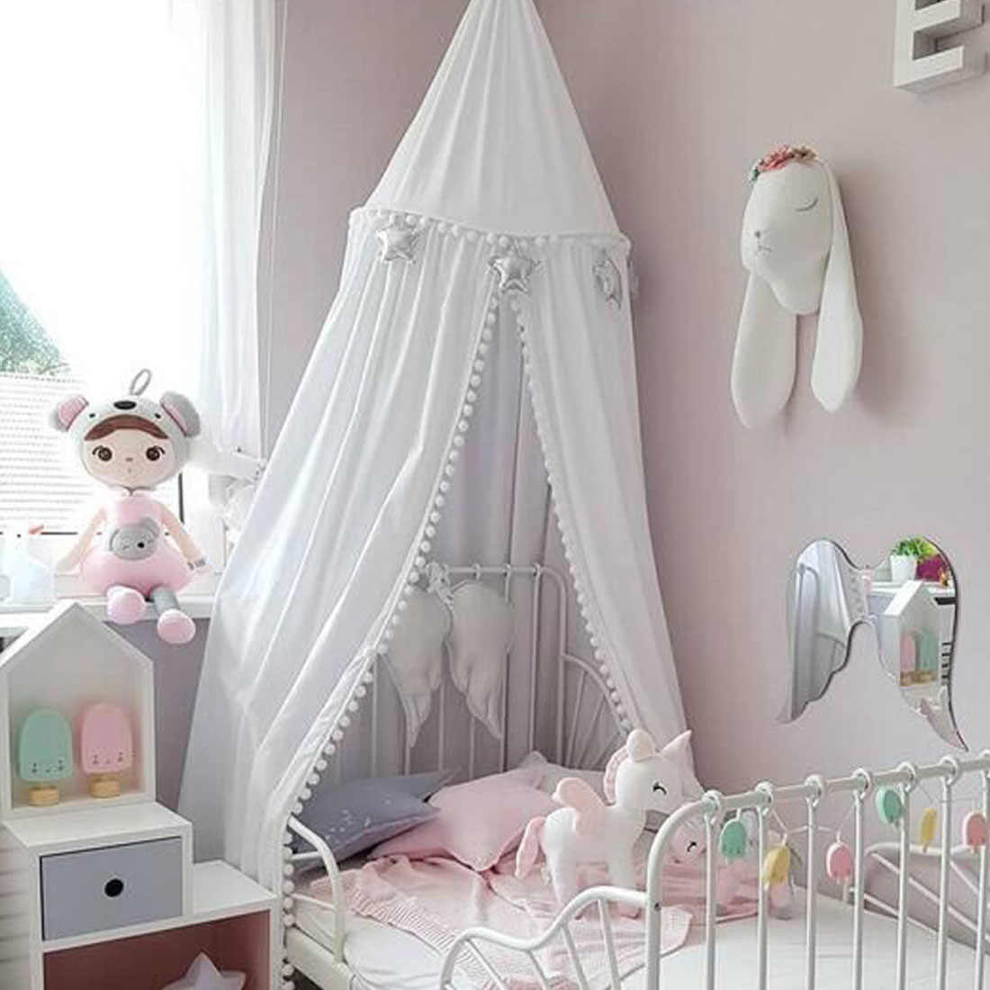 245cm Baumwolle Baby Zimmer Dekoration Kugeln Moskito Net Kinder Prinzessin Bett Vorhang Baldachin Runde Krippe Netting Zelt Fotografie requisiten