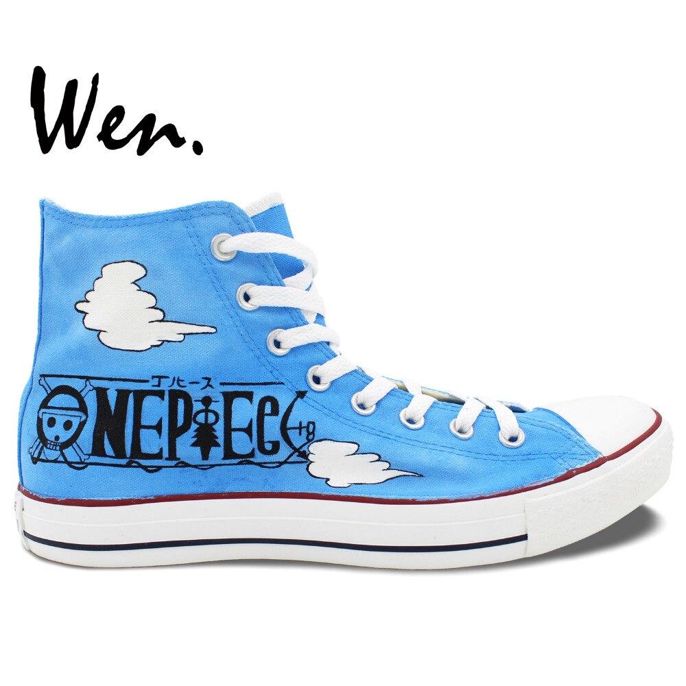 f819ab42739c Вэнь Синий Ручная роспись парусиновая обувь Одна деталь Луффи смеется аниме  Для мужчин Для женщин высокие холщовые кроссовки