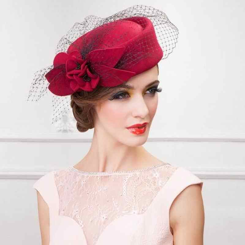 dbb1efa4c50 Womens Hat Cap Fedoras Dress Fascinator Wool Felt Pillbox Hat Party Wedding  Bow Veil Hat