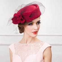 Womens Hat Cap Fedoras Dress Fascinator Wool Felt Pillbox Hat Party Wedding Bow