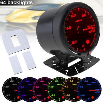 60MM Durable 12V 10x100 KPa 64 rétro-éclairage LED manomètre électrique de presse à huile de voiture avec capteur de pression d'huile