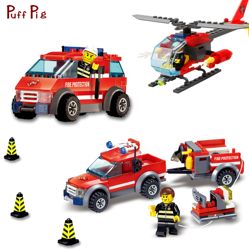 Fire Station Parts Helicopter Trucks Car Building Blocks Bricks Compatible Legoe City Firefighter Figures Toys For Children Kids kazi new 774pcs city fire station truck helicopter firefighter minis building blocks bricks toys brinquedos toys for children