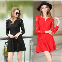 2017 SoftFox Brand Women Cute Lace Dress Summer Sexy Hollow Out Style Plus Size Lace Dress