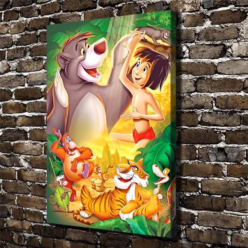 Tthe Jungle Book Children Cartoon Film,Hd Canvas Print Home Decoration Living Room Bedroom Wall Pictures Art Painting drop