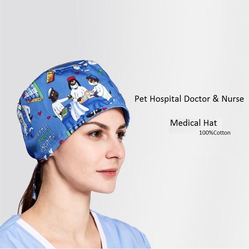 Pet Hospital Salon Woman Doctor Long/Short Hair Surgical Hat Adjustable Nurse Medical Cap Cartoon Animal Printing,Y8