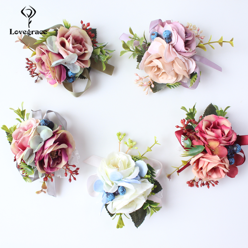 Lovegrace Artificial Silk Flowers Wrist And Corsages Blue Yellow Band Bridesmaid Bracelet Wedding Bouquet Hand Flower Supplies
